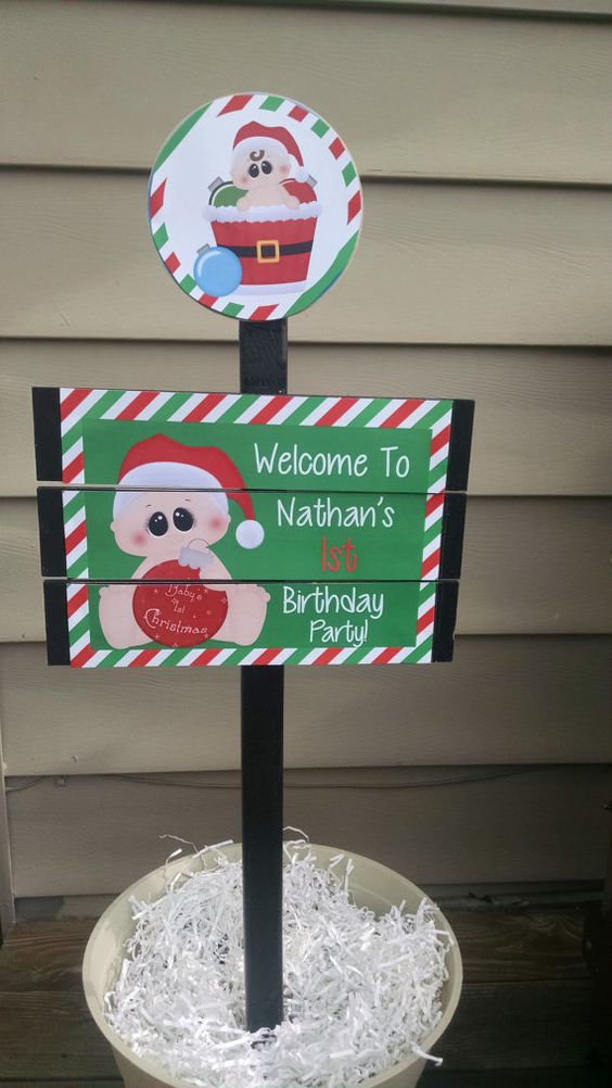 Baby First Christmas Birthday Yard Sign by MinisPartySigns on Etsy