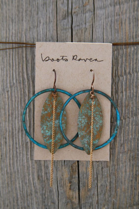 WILD CARD. Blue brass hoop and chain earrings.  by bootsravendesigns on Etsy