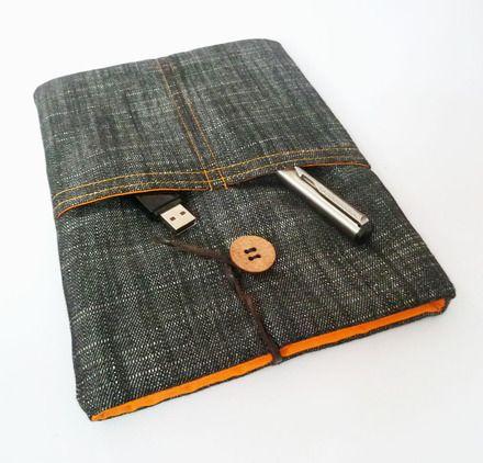 Housse tablette 8 pouces étui ipad en coton style denim noir et doublure orange vif  : Housses ordinateurs et tablettes par vagabonds