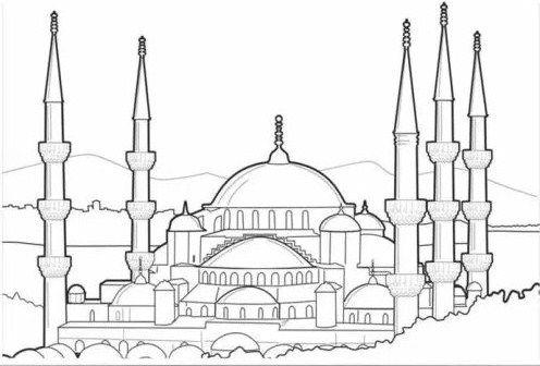 Gambar Sketsa Masjid Mewah Bertingkat Sketsa Gambar Warna