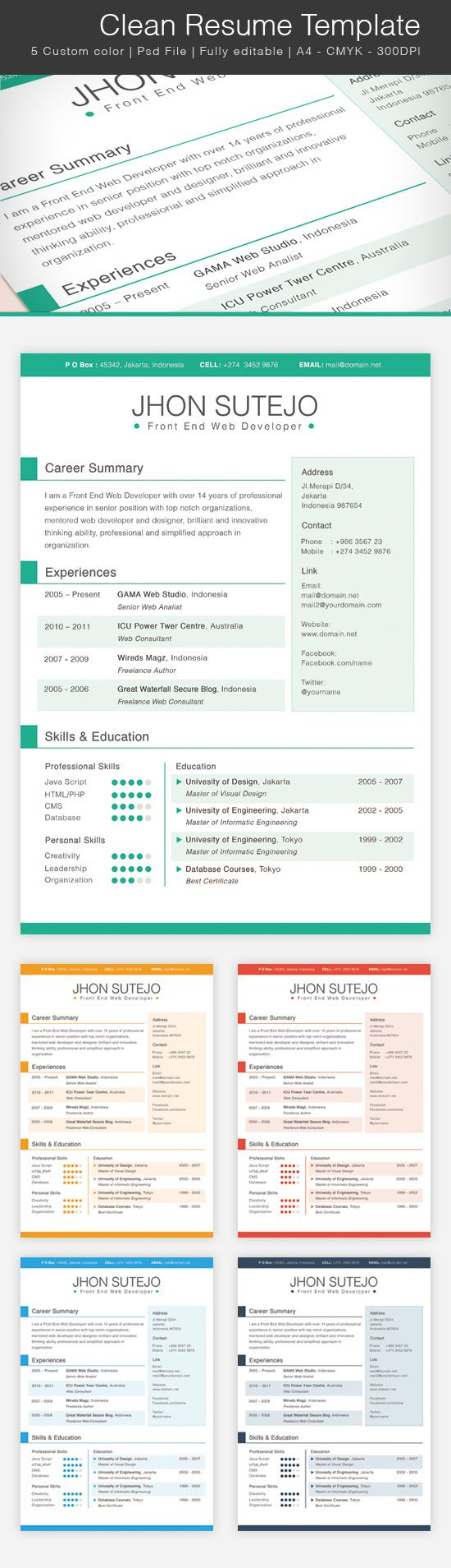 Free Clean Resume Template Free Psd Templates Pinterest