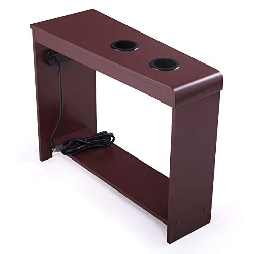 Tobbi Small End Table Wooden Chairside Table With 2 Usb Ports