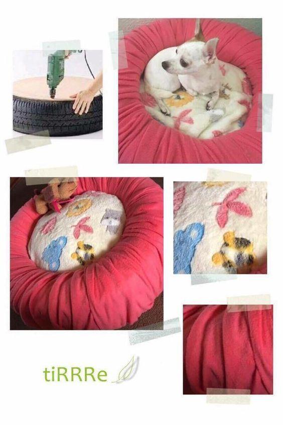 Reciclaje de llantas -Cama para mascota pequeña   ¿Tienes mascotas pequeñas?   En esta ocasión te presentamos cómo hacer una cama para tu mascota con una llanta abandonada. ¿Qué necesitas?     •Una llanta  •Tela (del color que gustes) •Cojín  •Triplay  •Tornillos •Taladro   Pasos: •Limpiar la llanta •Enrollar la tela alrededor de la llanta  •Atornillar el triplay por debajo de la llanta  •Colocar el cojín dentro de la llanta   ¡Y listo! ✅