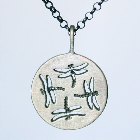 Dragonfly Dragonflies Pendant made of 925 Sterling silver hand carved in new york by zulasurfing mothers day gift