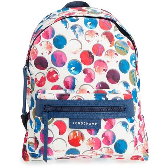 Longchamp 'Small Le Pliage - Neo Fantaisie' Canvas Backpack (1.091.115 COP) ❤ liked on Polyvore featuring bags, backpacks, multi, multi color backpack, backpacks bags, day pack backpack, white bags and zip top bag