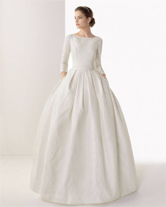 Best Wedding Dresses for 2014 Caceres Rosa Clara. I love the longer sleeves and this is my favorite neckline