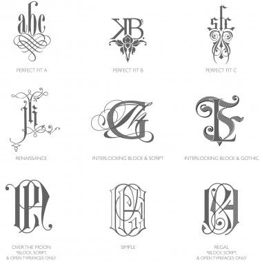 Bell'INVITO category C monograms are intricately intertwined & graphically illustrated monograms.