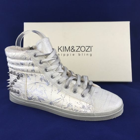 Kim & Zozi Bling Sneaker Brand new never worn. Sizing: True to size.  - Round toe - Lace-up vamp - Quilted ankle - Graphic print sides and back - Studded heel design - Imported Materials: Italian leather upper, rubber sole Kim & Zozi Shoes Athletic Shoes