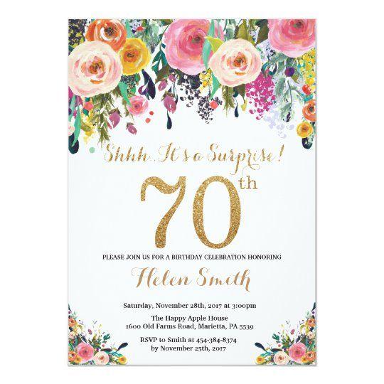 Floral Surprise 70th Birthday Invitation Gold 60th Birthday Invitations 50th Birthday Invitations 90th Birthday Invitations