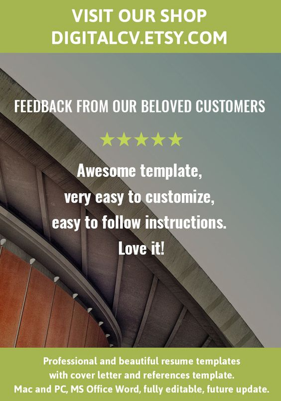 Feedback from our beloved customers Visit DigitalCVEtsy for - microsoft office word resume templates