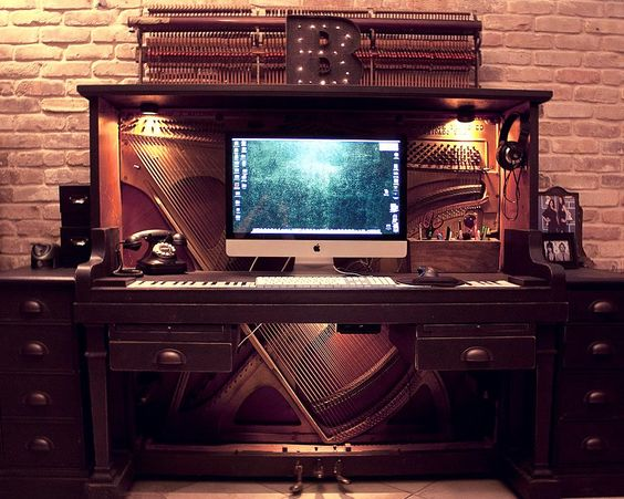 Old Piano Upcycled into Awesome Desk #Desk, #Piano, #Upcycled