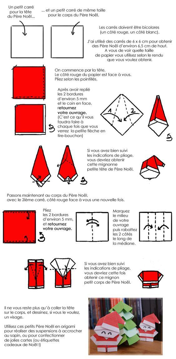 En dessin de petits p re no l en origami pour vos tiquettes de no l origami noel and diy - Origami pere noel ...