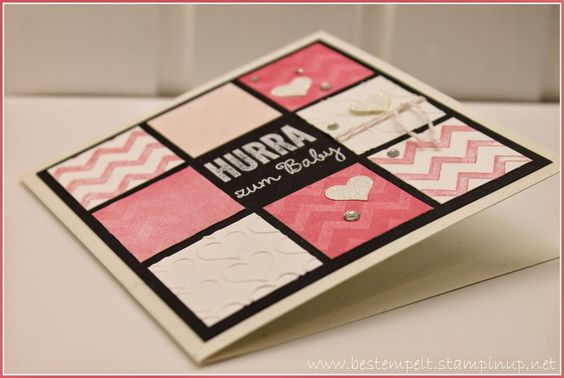 Stampin Up! Happy Heart Textured, Baby, Card, Embossing, Wir feiern, Zickzack, Herzen