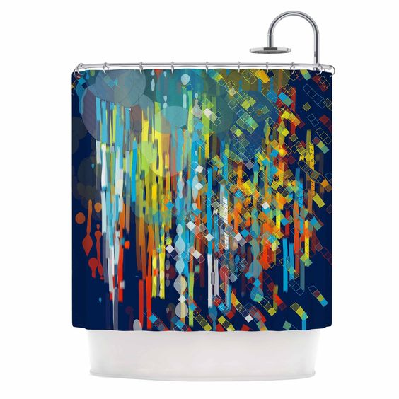 """Frederic Levy-Hadida """"Color Fall"""" Blue Multicolor Shower Curtain"""