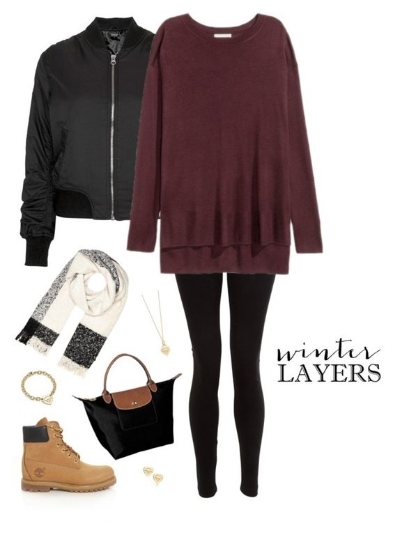 """winter layers ❄️"" by xofashionismylovexo ❤ liked on Polyvore featuring Topshop, American Apparel, Timberland, Longchamp, River Island and Tiffany & Co."