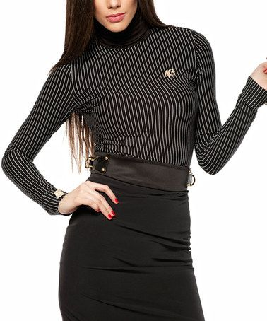 Look at this #zulilyfind! Black Pinstripe Mock Neck Top #zulilyfinds