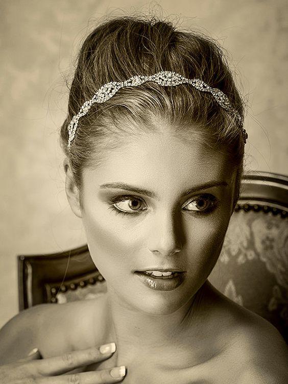 Braut Haarschmuck Swarovski Crystal Stirnband von ChrysanthInc, $188 ...