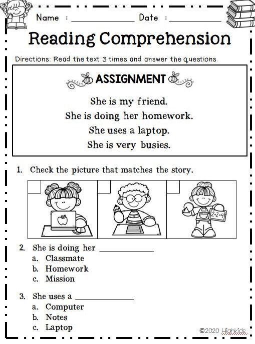 Kindergarten Reading Comprehension Read Match Distance Learning Reading Comprehension Kindergarten Kindergarten Reading Science Lessons Elementary Reading and matching worksheets
