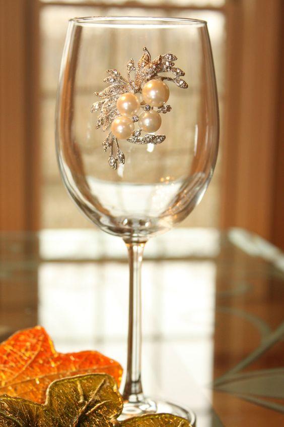 Pearl Bouquet Jeweled Wine Glass (25.00 USD) by SparkleGlassware