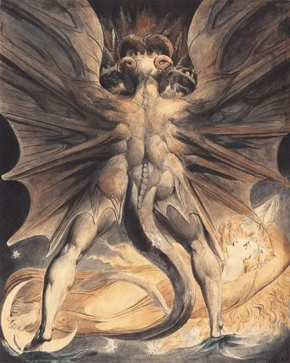 """William Blake - """"The Great Red Dragon and the Woman Clothed in Sun"""" (1805-1810)"""