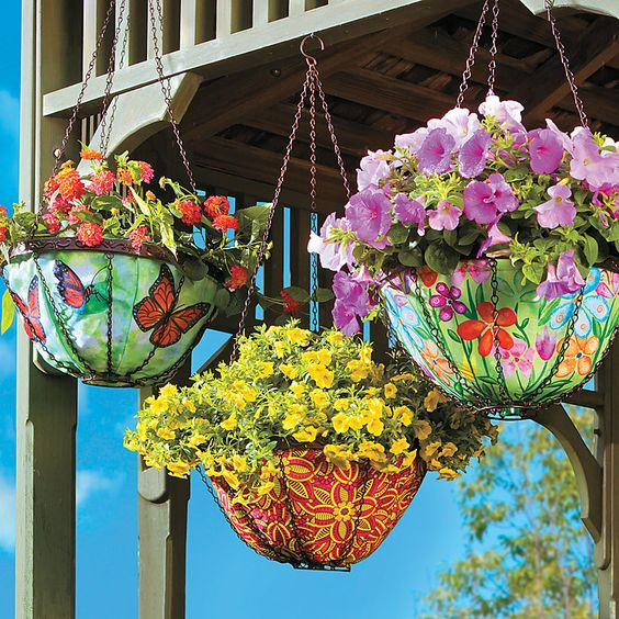 Hanging Art Planters - a healthier (and prettier) alternative to traditional hanging pots.