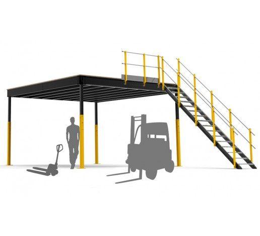 Entreplanta Industrial Txl 32 Con Escalera Y Barandilla Mezzanine Straight Stairs Tiny House Floor Plans