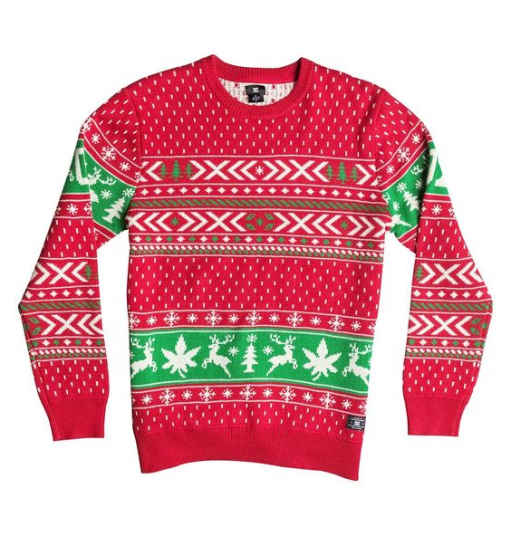 Pot Leaf and Stag Fair Isle Ugly Christmas Sweater by DC Shoes ...