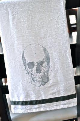 diy halloween tea towels