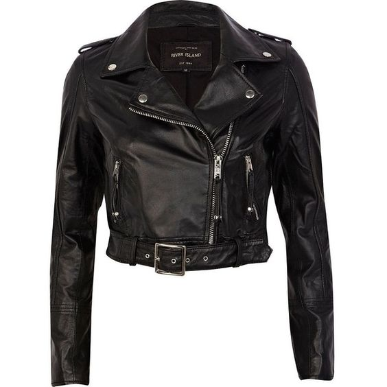 River Island Black belted hem cropped leather jacket (145 AUD) found on Polyvore