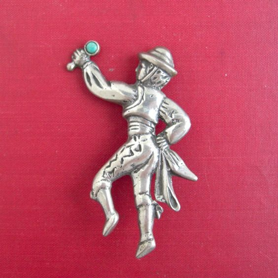 Mexico+Sterling+Silver+Flamenco+Dancer+Pin+/+Brooch++20.3+by+lucra