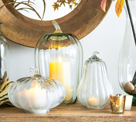 Recycled Glass Pumpkin Cloche Clear Large Pillows Decor
