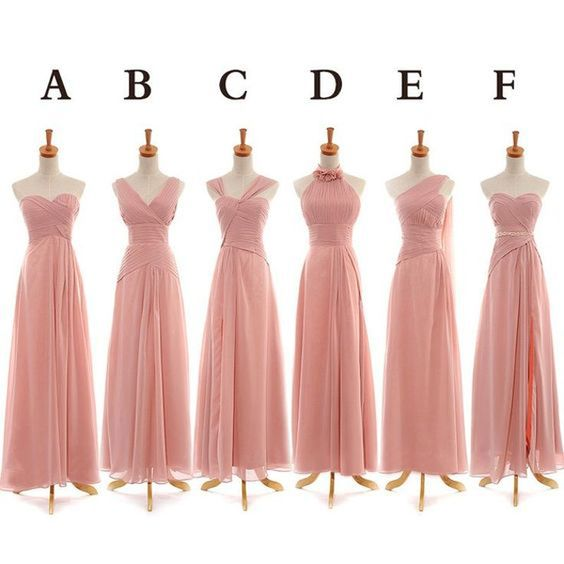 long bridesmaid dresses, chiffon bridesmaid dresses,pink custom bridesmaid
