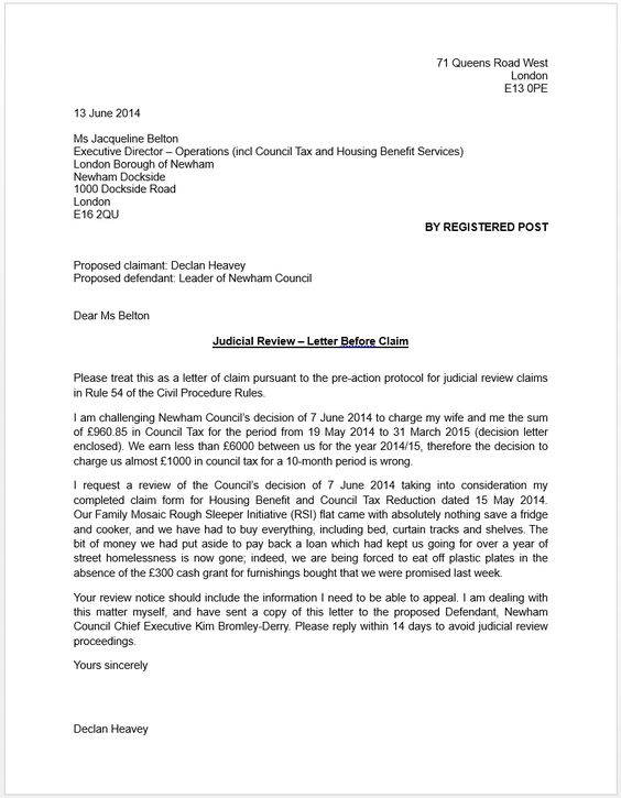 ncm blog newham council letter before claim for judicial review - claims letter