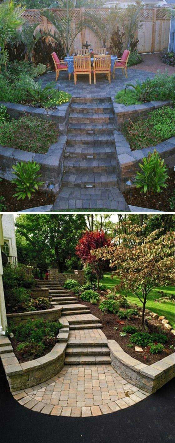 21 Amazing Ideas To Plan A Slope Yard That You Should Not Miss Sloped Backyard Backyard Landscaping Landscaping Retaining Walls Landscaping ideas for house on hill