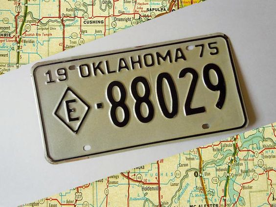 Vintage 1975 Oklahoma State License Plate Wall by RecycledWares, $10.00