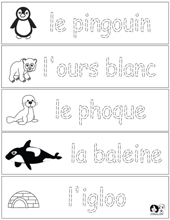 french winter animals worksheets french for children free printables from. Black Bedroom Furniture Sets. Home Design Ideas