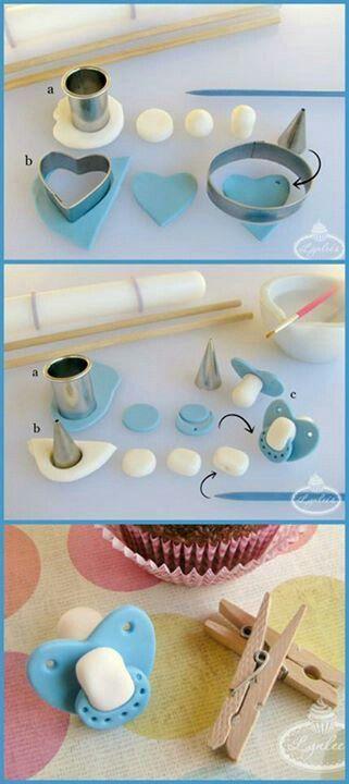 Fondant tutorial Baby shower cake / cupcake decorations Pacifier, binky