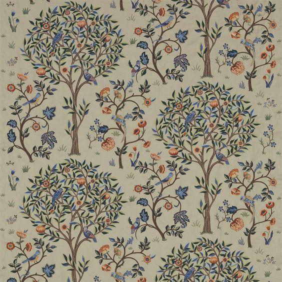 The Original Morris & Co - Arte e artigianato, tessuti e disegni wallpaper di William Morris & Company | Prodotti | britannici / UK Tessuti e Sfondi | Kelmscott Albero (DM6E230341) | Archivio Ricami