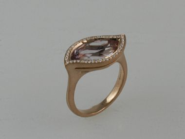 Rose Gold and Rose de France Ring: Also available with green quarts and amethyst #Ring #Dainty_Rings #Rose_de_France