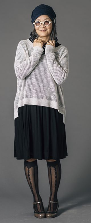 black silk jersey tee under sweater to emphasize texture of sweater