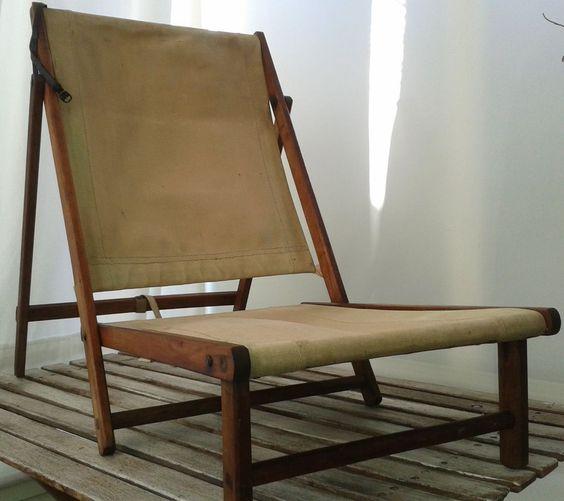 Vintage folding canvas camping chair 1940 s bushcraft fishing WW2 re enac