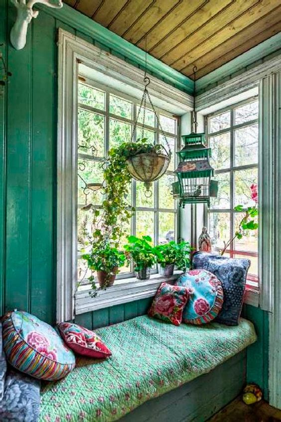 Add a pretty little window seat.:
