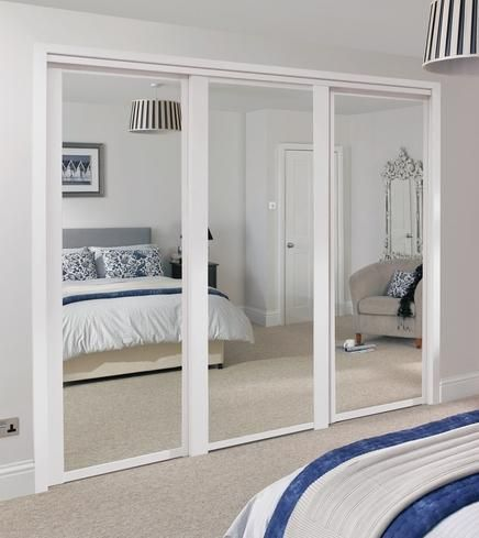 Shaker Panel Mirror Door White Sliding Wardrobe Doors