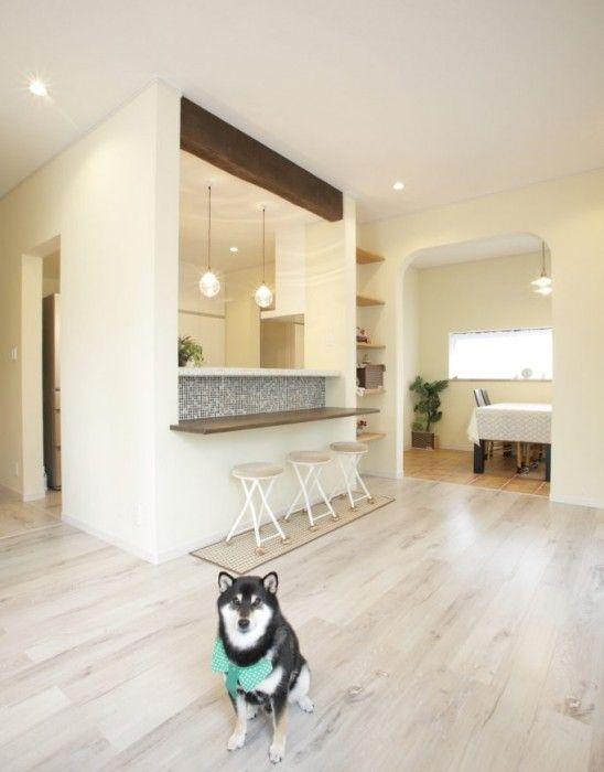 ペットと暮らす おうちカフェ スタイル リビング 床 白 スタジオインテリア マンションキッチン