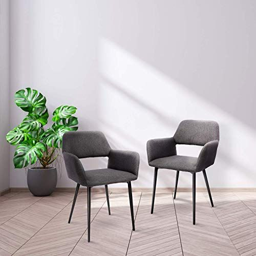 New Arm Chair Tusy Modern Dining Chair Set 2 Living Room Accent Arm Chairs Club Guest Iron Legs Gray Online Shopping In 2020 Modern Dining Chairs Dining Chairs Dining Chairs Buy