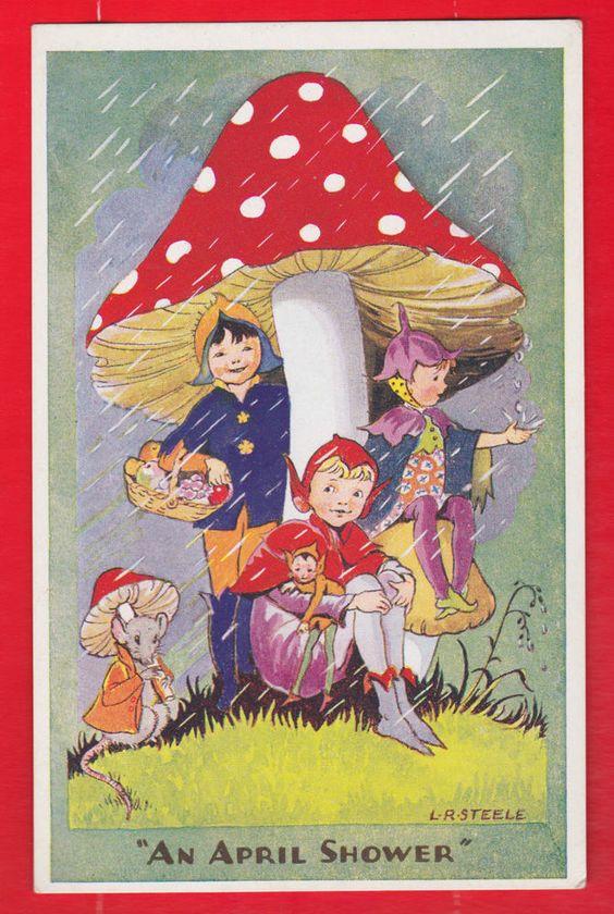 L.R. Steele, Children, Fairies, An april shower, Salmon postcard.