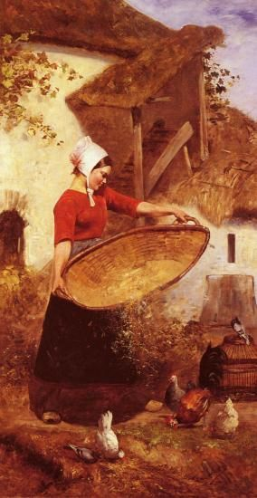 """La provende des poules"" (Feeding hens), by Louis Pierre Verwee (1807-1877):"