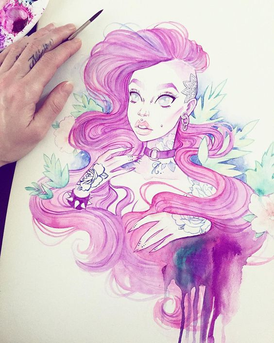 """Finished this #watercolor & #gouache lass  I wanted to try drawing her with tattoos. What do you guys think? I want her finger tattoos lol ⚜✨…"""