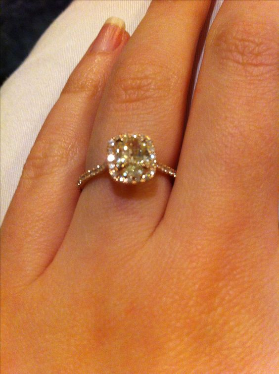 Canary cushion cut rose gold engagement ring. I'm so in love