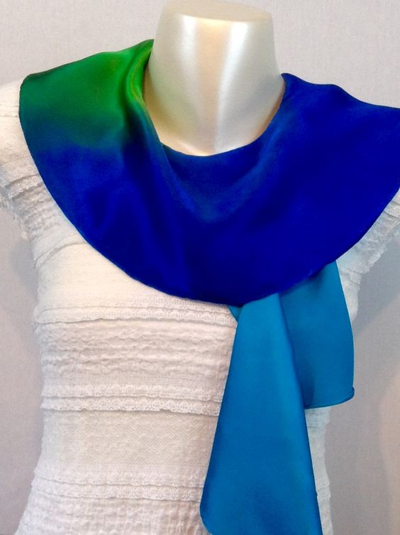 Stunning Hand Made 100% Pure Silk Satin Twirl Scarf in Spring Palette . See more at www.truecolourfashion.co.uk